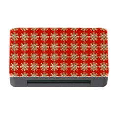Snowflakes Square Red Background Memory Card Reader With Cf