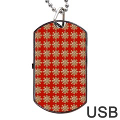 Snowflakes Square Red Background Dog Tag Usb Flash (one Side)