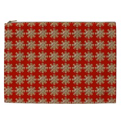 Snowflakes Square Red Background Cosmetic Bag (xxl)