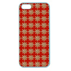 Snowflakes Square Red Background Apple Seamless Iphone 5 Case (color)