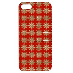 Snowflakes Square Red Background Apple Iphone 5 Hardshell Case With Stand by Nexatart