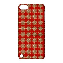 Snowflakes Square Red Background Apple Ipod Touch 5 Hardshell Case With Stand by Nexatart