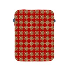 Snowflakes Square Red Background Apple Ipad 2/3/4 Protective Soft Cases