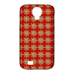 Snowflakes Square Red Background Samsung Galaxy S4 Classic Hardshell Case (pc+silicone)