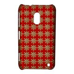Snowflakes Square Red Background Nokia Lumia 620 by Nexatart
