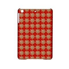 Snowflakes Square Red Background iPad Mini 2 Hardshell Cases by Nexatart