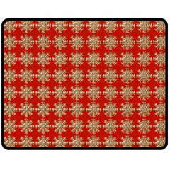 Snowflakes Square Red Background Double Sided Fleece Blanket (medium)
