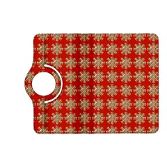Snowflakes Square Red Background Kindle Fire Hd (2013) Flip 360 Case by Nexatart