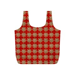 Snowflakes Square Red Background Full Print Recycle Bags (s)