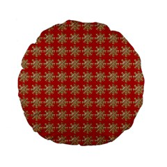 Snowflakes Square Red Background Standard 15  Premium Flano Round Cushions