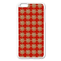 Snowflakes Square Red Background Apple Iphone 6 Plus/6s Plus Enamel White Case