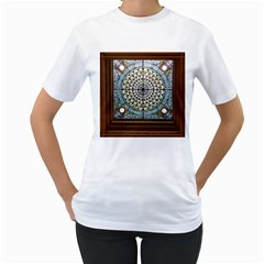 Stained Glass Window Library Of Congress Women s T Shirt (white) (two Sided) by Nexatart