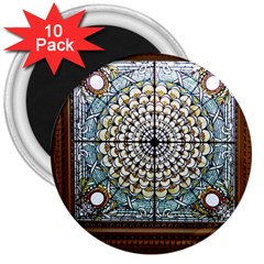 Stained Glass Window Library Of Congress 3  Magnets (10 Pack)  by Nexatart