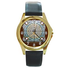 Stained Glass Window Library Of Congress Round Gold Metal Watch by Nexatart