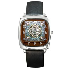 Stained Glass Window Library Of Congress Square Metal Watch by Nexatart
