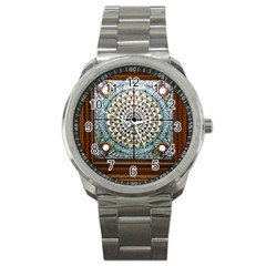 Stained Glass Window Library Of Congress Sport Metal Watch by Nexatart
