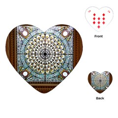 Stained Glass Window Library Of Congress Playing Cards (heart)  by Nexatart