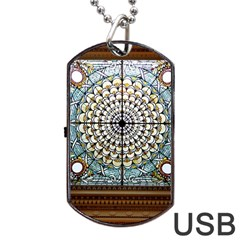 Stained Glass Window Library Of Congress Dog Tag Usb Flash (one Side) by Nexatart