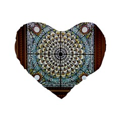 Stained Glass Window Library Of Congress Standard 16  Premium Heart Shape Cushions by Nexatart