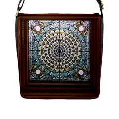 Stained Glass Window Library Of Congress Flap Messenger Bag (l)  by Nexatart