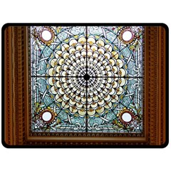 Stained Glass Window Library Of Congress Double Sided Fleece Blanket (large)  by Nexatart