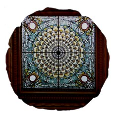 Stained Glass Window Library Of Congress Large 18  Premium Flano Round Cushions by Nexatart