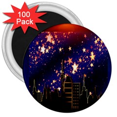 Star Advent Christmas Eve Christmas 3  Magnets (100 Pack) by Nexatart