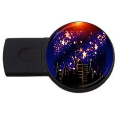 Star Advent Christmas Eve Christmas USB Flash Drive Round (2 GB) by Nexatart