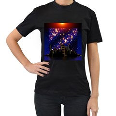Star Advent Christmas Eve Christmas Women s T Shirt (black) (two Sided)