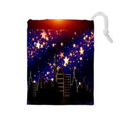 Star Advent Christmas Eve Christmas Drawstring Pouches (large)