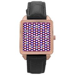 Star Pattern Rose Gold Leather Watch  by Nexatart