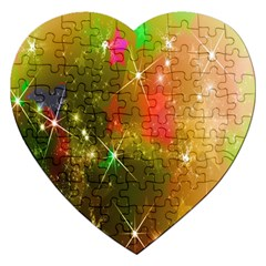 Star Christmas Background Image Red Jigsaw Puzzle (heart) by Nexatart
