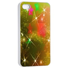 Star Christmas Background Image Red Apple Iphone 4/4s Seamless Case (white)