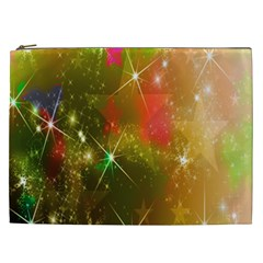 Star Christmas Background Image Red Cosmetic Bag (xxl)  by Nexatart