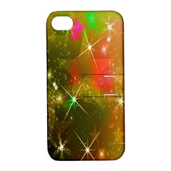 Star Christmas Background Image Red Apple Iphone 4/4s Hardshell Case With Stand