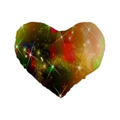 Star Christmas Background Image Red Standard 16  Premium Flano Heart Shape Cushions by Nexatart