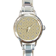 Star Basket Pattern Basket Pattern Round Italian Charm Watch