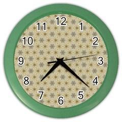 Star Basket Pattern Basket Pattern Color Wall Clocks
