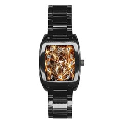 Star Golden Christmas Connection Stainless Steel Barrel Watch by Nexatart