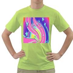 Star Christmas Pattern Texture Green T Shirt