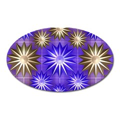 Stars Patterns Christmas Background Seamless Oval Magnet by Nexatart