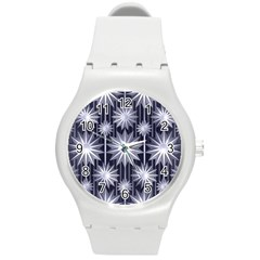 Stars Patterns Christmas Background Seamless Round Plastic Sport Watch (m)