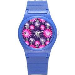 Stars Patterns Christmas Background Seamless Round Plastic Sport Watch (s)