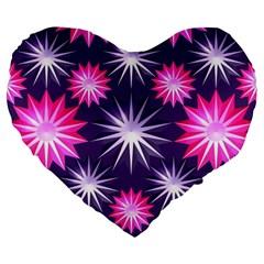 Stars Patterns Christmas Background Seamless Large 19  Premium Flano Heart Shape Cushions