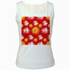 Stars Patterns Christmas Background Seamless Women s White Tank Top