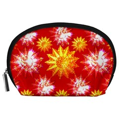 Stars Patterns Christmas Background Seamless Accessory Pouches (large)