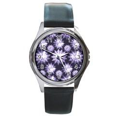 Stars Patterns Christmas Background Seamless Round Metal Watch
