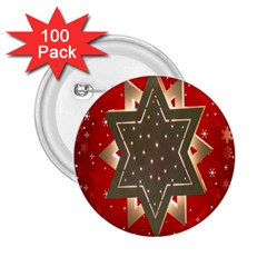 Star Wood Star Illuminated 2 25  Buttons (100 Pack)  by Nexatart