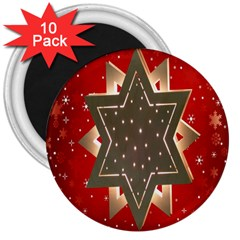 Star Wood Star Illuminated 3  Magnets (10 Pack)