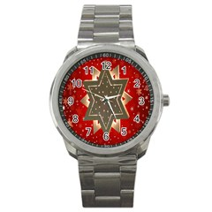Star Wood Star Illuminated Sport Metal Watch